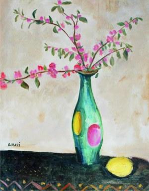 Aneri Irena Weissowa (1888-1981), Martwa natura z kwiatami w wazonie i cytryną, ok. 1969