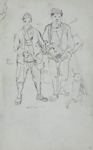 Stanisław Kaczor Batowski (1866-1945), Rysunek przedstawiający dwóch młodych mężczyzn z tobołkami (przyborami malarskimi?) i psem oraz notatki dotyczące kolorystyki