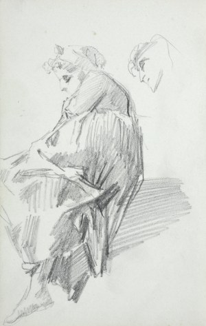 Stanisław Kaczor Batowski (1866-1945), Wpół leżąca młoda kobieta o bosych stopach, szkic głowy