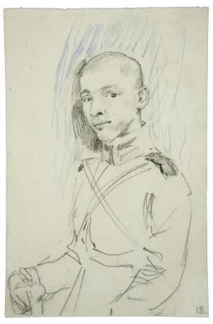 Wojciech Kossak (1856-1942), Portret młodego oficera - szkic
