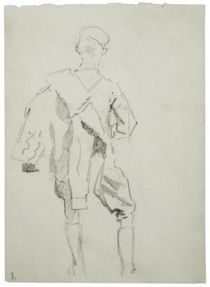 Wojciech Kossak (1856-1942), Ułan z kurtką przewieszoną na ramieniu, ujęty z tyłu - szkic