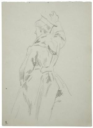 Wojciech Kossak (1856-1942), Studium ułana siedzącego na koniu [nie narysowany] z uniesioną prawą ręką [w znaku do ataku]