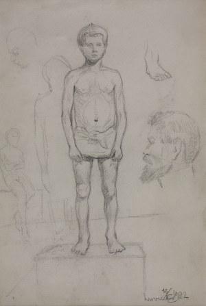 Karol Kossak (1896-1975), Szkice postaci chłopca, głowy mężczyzny, 1922