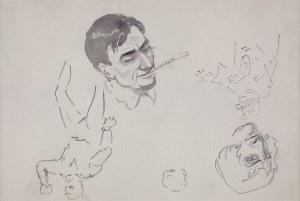 Karol Kossak (1896-1975), Szkice postaci mężczyzny (Głowa mężczyzny palącego papierosa)
