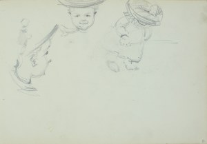 Włodzimierz Tetmajer (1861 - 1923), Szkice małego dziecka w kobiecym kapeluszu, ok. 1900