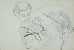 Włodzimierz Tetmajer (1861 - 1923), Szkice słonecznika i głowy kobiety, ok. 1900