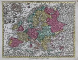 MAPA EUROPY, Georg Matthäus Seutter, Tobias Conrad Lotter, Augsburg, 1760