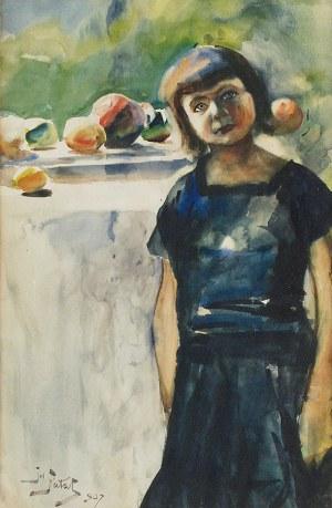 Julian FAŁAT (1853-1929), Dziewczynka i owoce - Portret córki artysty, 1907