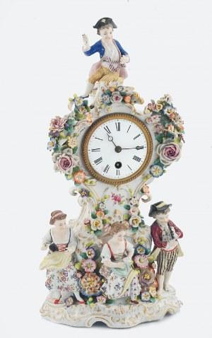 Zegar (obudowa) porcelanowy, z grupą w strojach pasterskich i dekoracją kwiatową