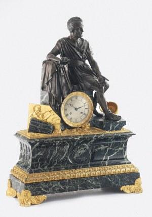 Zegar kominkowy z wizerunkiem rzymskiego filozofa