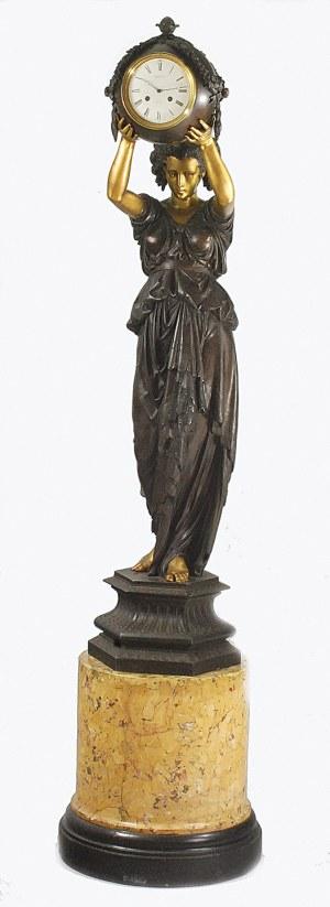 Albert-Ernest CARRIER-BELLEUSE - rzeźbiarz (1824-1887), Zegar podłogowy w formie figury kobiecej