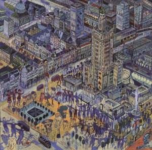 Edward Dwurnik, Warszawa - Pałac Kultury i Nauki, 1995, 40 x 40 cm