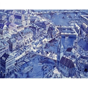 Edward Dwurnik (1943-2018), Zurych, 1993, 50 x 70 cm (duży format)