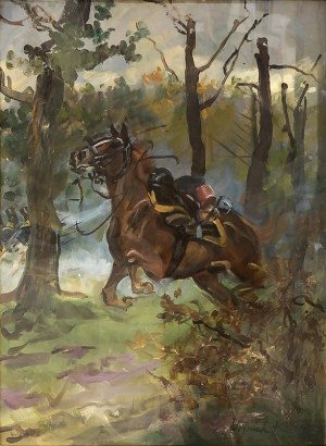 Wojciech Kossak (1856 Paryż – 1942 Kraków) Spłoszony koń, 1912