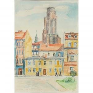 Irena Nowakowska – Acedańska (1906 Lwów – 1983 Gliwice) Gliwice. Kościół Wszystkich Świętych od ul. Wieczorka, 1970