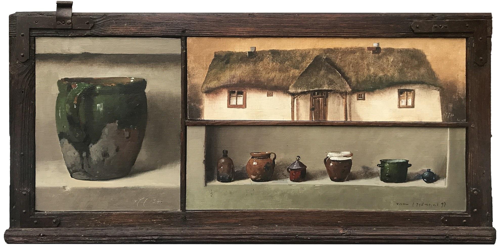 Wiktor Jerzy Jędrzejak, Martwa natura z wiejską chatą, 1997