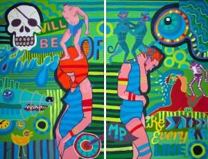 Marcin Painta, One i Zielona Wyspa I i II (dyptyk), 2015