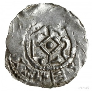 denar ok. 1000; Monogram Carolus, fragment napisu CCI.....
