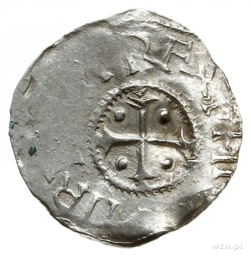 denar 1002-1024, Kolonia; Rozeta trójlistna i popiersie...