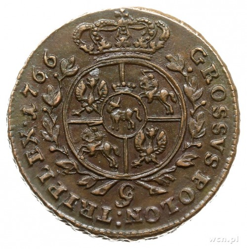 trojak 1766, Kraków; popiersie króla w zbroi, wieniec z...