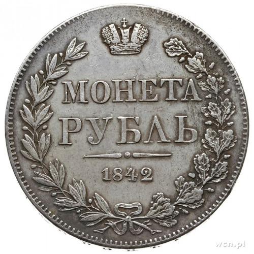 """rubel 1842, Warszawa; ogon Orła ułożony """"wachlarzowato""""..."""