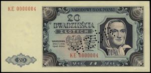 20 złotych 1.07.1948, seria KE, numeracja 0000004; perf...