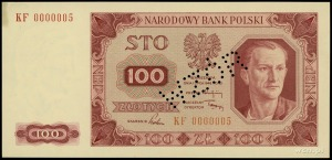 100 złotych 1.07.1948, seria KF, numeracja 0000005, per...