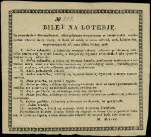kwit loterii zorganizowanej przez M. Millera z Wilna, b...