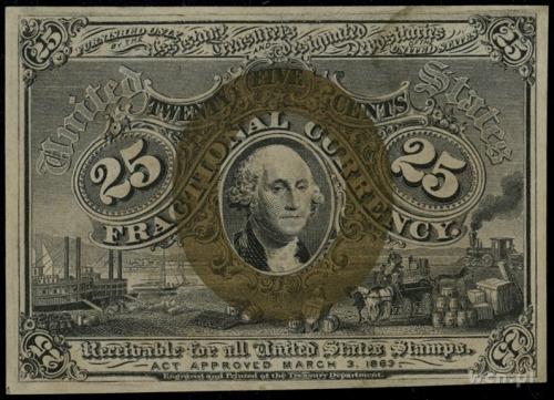 Fractional Currency; 25 centów 3.3.1863, bez numeracji;...