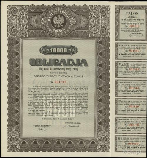 Rzeczpospolita Polska 1918-1939; obligacja II-ej serii ...