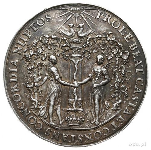 medal zaślubinowy autorstwa Jana Höhna; Aw: Mężczyzna i...