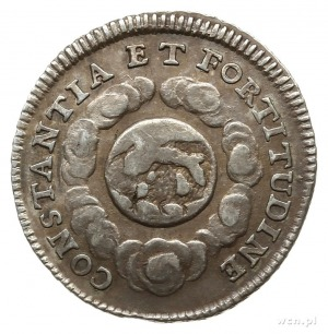 srebrna odbitka dukata z 1723 roku wybita z okacji koro...