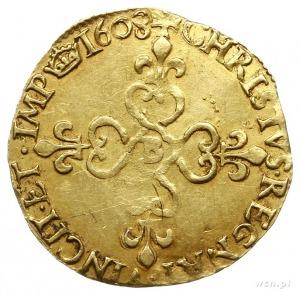 ecu d'or au soleil 1608 B, Rouen; Aw: Ukoronowana tarcz...