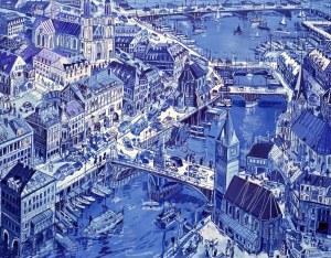 Edward Dwurnik (1943-2018), Zurych, 1993, 30 x 40 cm