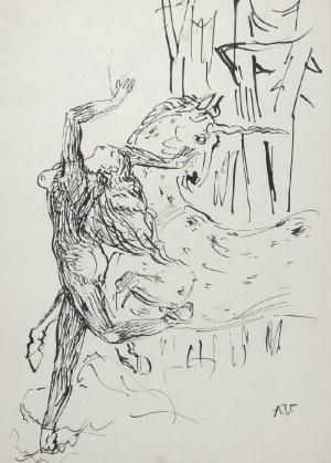 Antoni UNIECHOWSKI (1903-1976), Schwytana dziewczyna. Z cyklu Legenda o jednorożcu