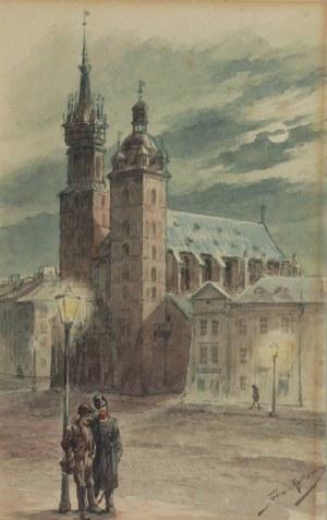 Tadeusz RYBKOWSKI (1848-1926), Nocne spotkanie na Rynku Krakowskim