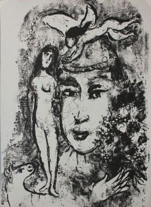 """Marc Chagall (1887-1985), Biały Clown(""""Derrière le Miroir"""" no 147, 1964, Mourlot #411)"""