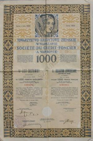 Towarzystwo Kredytowe Ziemskie w Warszawie., 6% List zastawny na 1000 franków (1929)