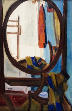 Aneri Irena Weissowa (1888-1981), Wnętrze mieszkania z owalnym lustrem, ok. 1918