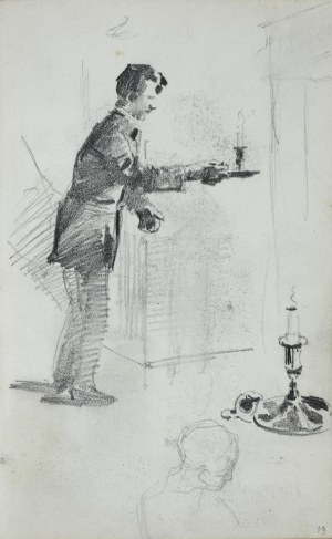 Stanisław Kaczor Batowski (1866-1945), Mężczyzna z kagankiem ze świecą obok kaganek oraz szkic głowy kobiety