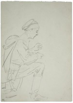 Wojciech Kossak (1856-1942), Ułan w przyklęku [pojący konia] - szkic