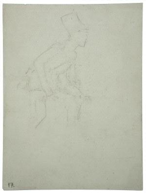 Wojciech Kossak (1856-1942), Grenadier - piechur w ataku z karabinem w opuszczonych rękach - szkic