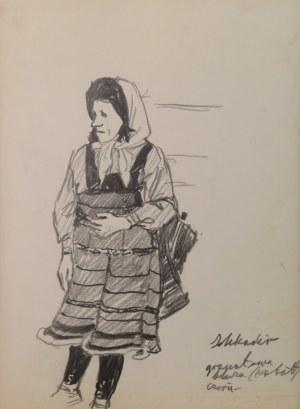 """Ludwik Antoni Maciąg (1920-2007), Albanka - szkic typu ludowego i kostiumu - z cyklu """"Szkice z Albanii"""""""