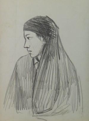 """Ludwik Antoni Maciąg (1920-2007), Kobieta w chuście - szkic typu ludowego i kostiumu - z cyklu """"Szkice z Albanii"""""""