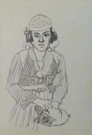 """Ludwik Antoni Maciąg (1920-2007), Młoda kobieta - szkic typu ludowego i kostiumu - z cyklu """"Szkice z Albanii"""""""