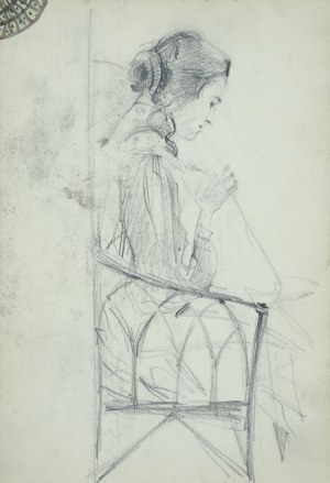 Włodzimierz Tetmajer (1861 - 1923), Młoda kobieta zajęta robótkami, siedząca na krześle z ażurowym oparciem, ujęta z prawego profilu, 1907