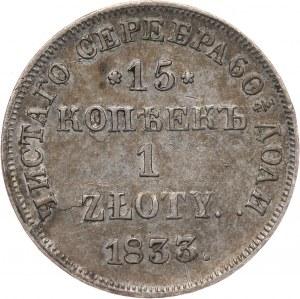 Zabór rosyjski, Mikołaj I, 15 kopiejek = 1 złoty 1833 НГ, Petersburg