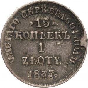 Zabór rosyjski, Mikołaj I, 15 kopiejek = 1 złoty 1837 НГ, Petersburg