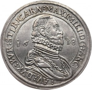 Austria, arcyksiążę Maksymilian III, talar 1618, Hall