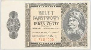II RP, 1 złoty 1.10.1938, Bilet zdawkowy, seria IJ